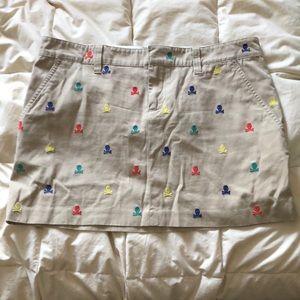 Ralph Lauren Rugby Khaki Skull Print Skirt
